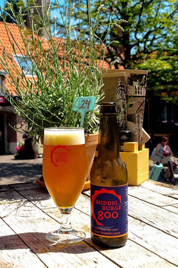 Middelburgs 800 beer, a local beer from Middelburg, in the middle of a former hofje turned cafe and home good shop in Middelburg, the Netherlands.   #travel #cafe #nederland #bier