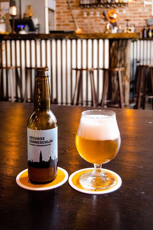Zeeuwse Zonneschijn, one of the local beers in Middelburg, the Netherlands, at a cozy brown bar. #beer #middelburg