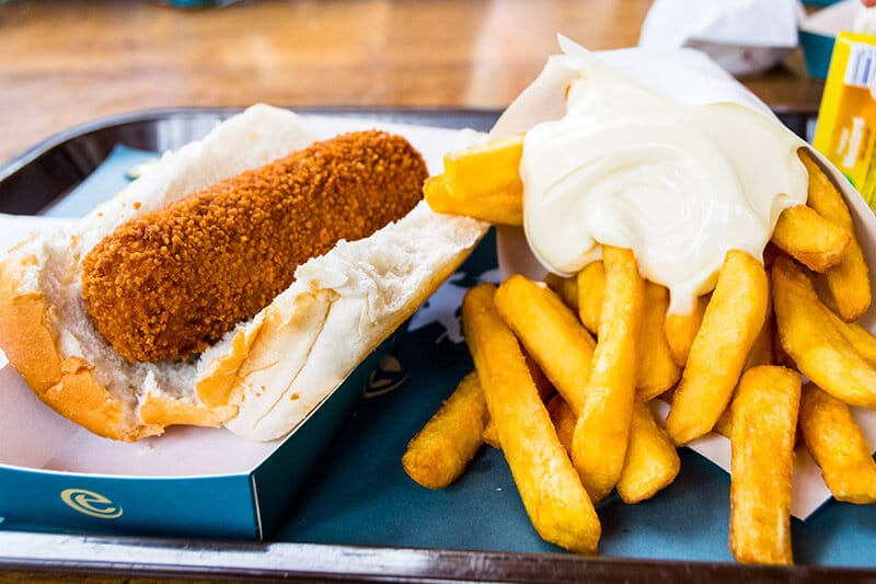 Kroket met frites, a very Dutch lunch at Efteling amusement park in the Netherlands. #dutch