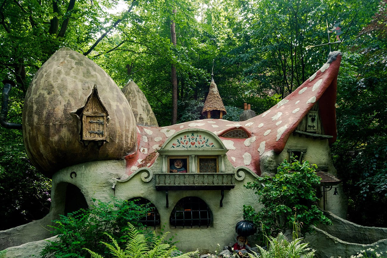 The beautiful Dwarf Village, part of the Efteling Sprookjesbos, one of the most unique parts of the Efteling theme park in the Netherlands.