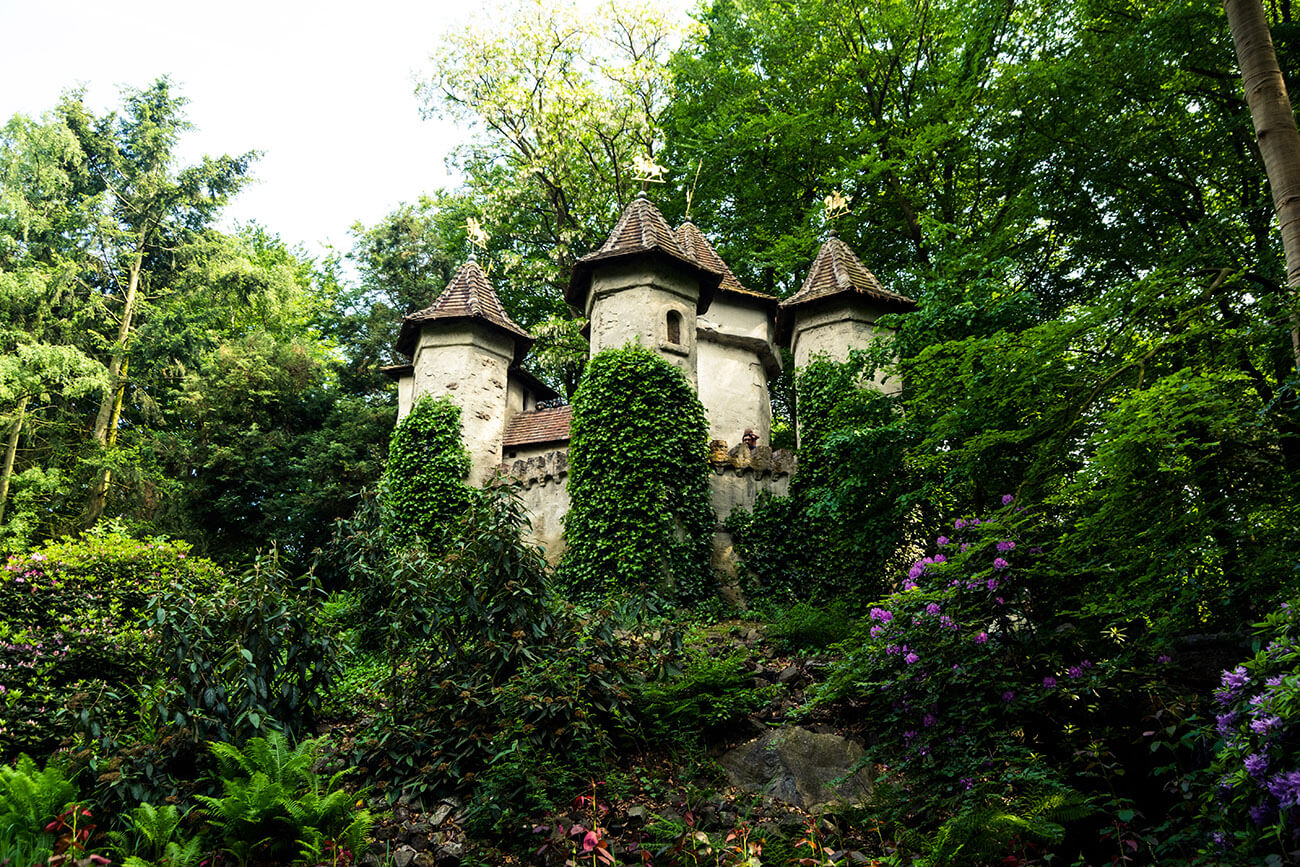 Sleeping Beauty's castle in the Sprookjesbos in Efteling Theme Park in the Netherlands.