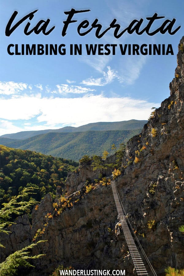 Looking for a climbing adventure in the United States? Try out a via ferrata (klettersteig) in Nelson Rocks, West Virginia.  This stunning climbing course is perfect for first time climbers looking for an adrenaline rush! #travel #USA #climbing #adventure #westvirginia #viaferrata #klettersteig