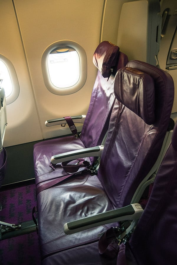 Economy seating on WOW air, a cheap airline that flies between Europe and the US.  Read a review of flying with WOW air in economy class.