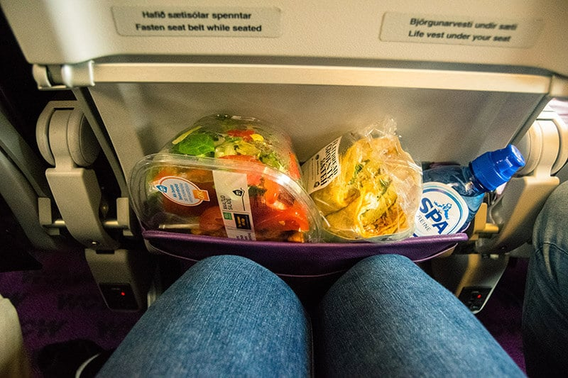 Snacks brought on board WOW air.  As there is no food provided, you need to bring several items with you!