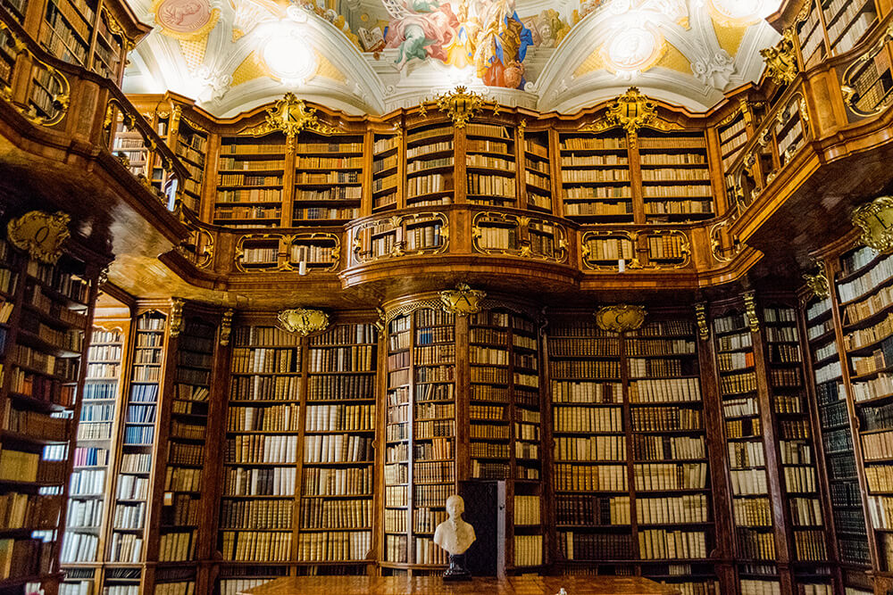 The stunning baroque library of Stift Sankt Florian (St. Florian Monastery), a monastery in Austria.  This beautiful library is easily on par with the Melk Abbey library!