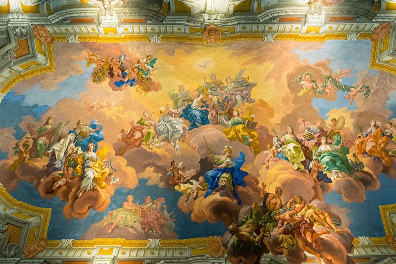 Beautiful fresco ceiling within St. Florian Monastery library by bartolomeo altomonte.
