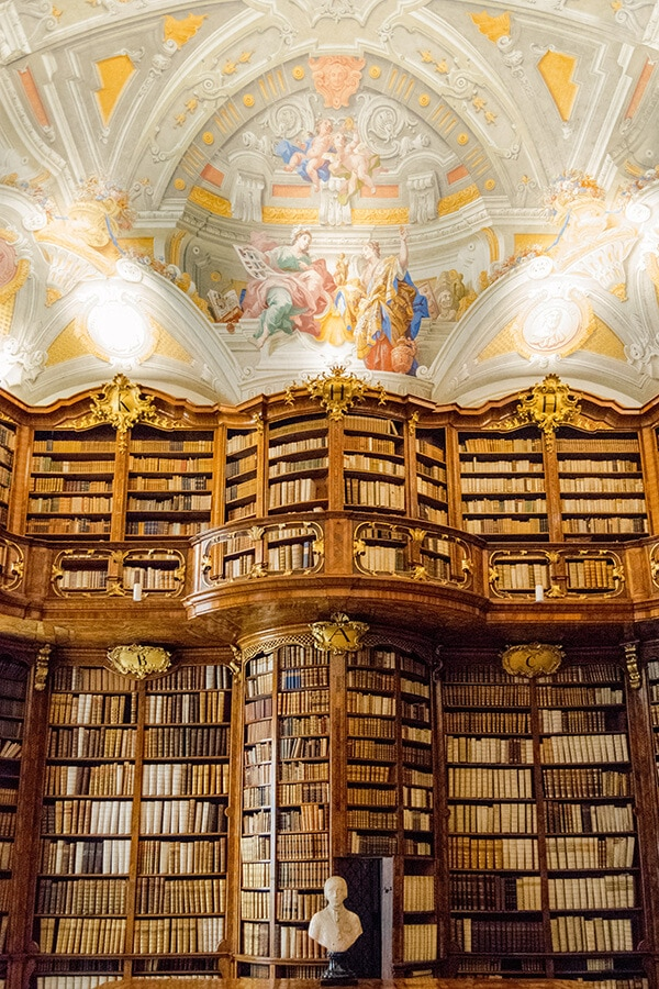 The stunning baroque library of Stift Sankt Florian (St. Florian Monastery. This beautiful library is easily on par with the Melk Abbey library, but without the crowds. #travel #austria #libraries #litlover