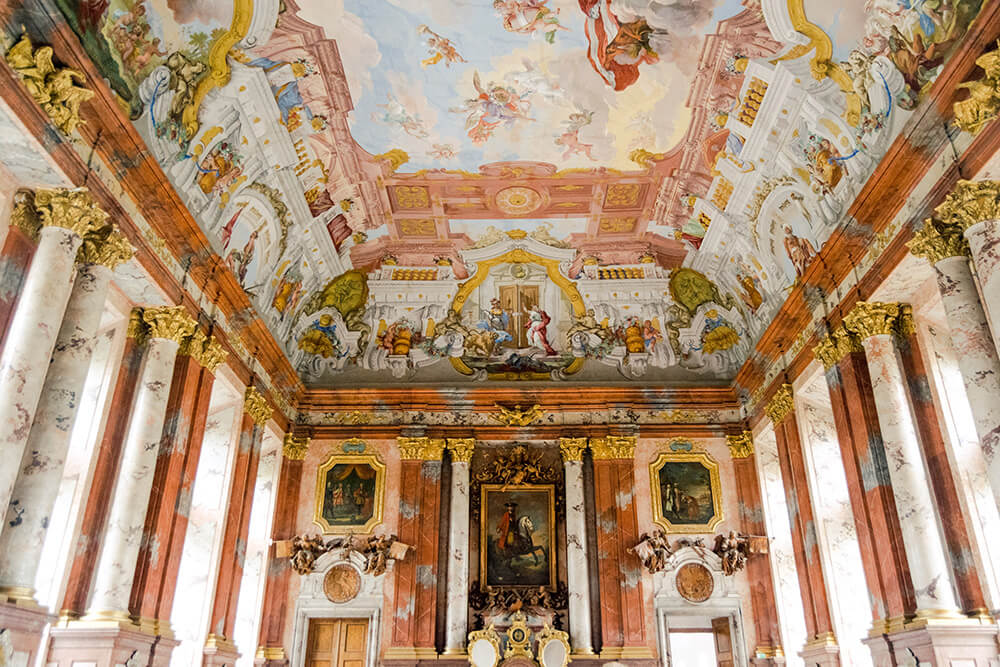 The beautiful entertaining wing of St. Florian Monastery with a beautiful fresco.  This stunning monastery is one of the highlights of Upper Austria! #travel #austria