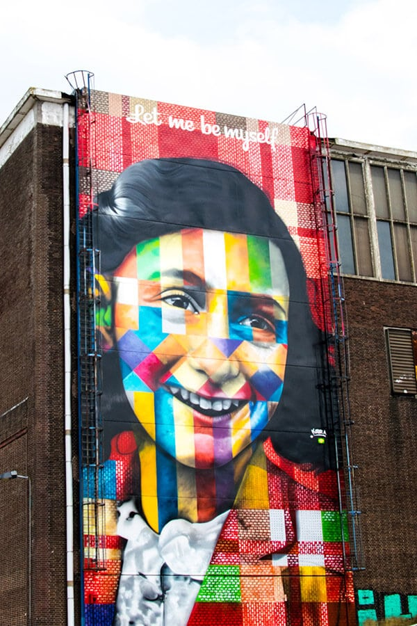 Mural of Anne Frank in Amsterdam Noord, a great off the beaten path of Amsterdam full of warehouses!