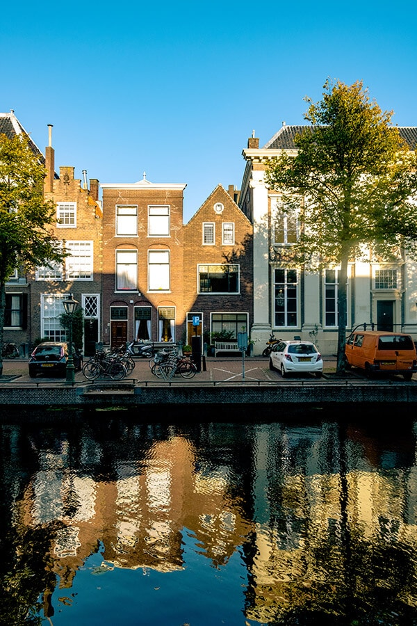 Beautiful canal showing the houses featured in the miniseries, the Miniaturist. This British book turned miniseries was filmed in Leiden, the Netherlands. #travel #netherlands #leiden