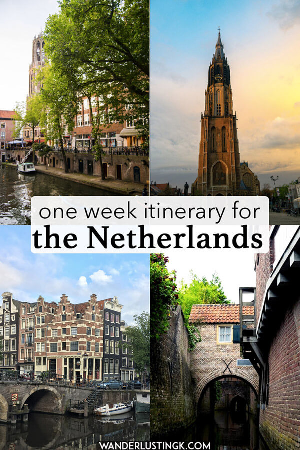 Planning your trip to the Netherlands? Your perfect itinerary for the Netherlands written by a Dutch resident including the best places to visit in the Netherlands in a week (or longer).  Includes windmills, tulips, cheese markets, Utrecht, Gouda, Rotterdam, and Amsterdam! #holland #amsterdam #netherlands
