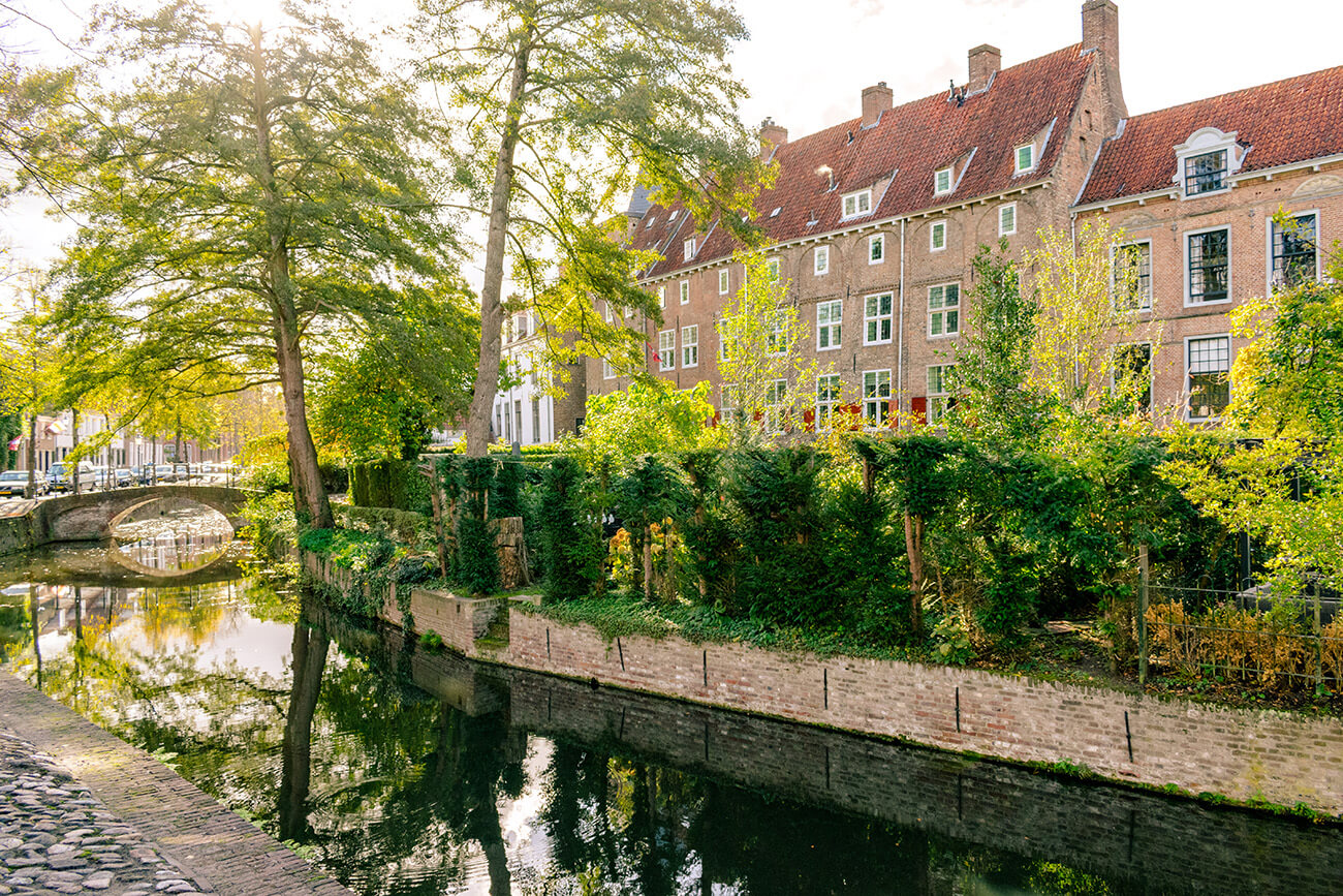 The beautiful canals and muurhuizen of Amersfoort. These beautiful houses were built out of the former medieval wall to Amersfoort.