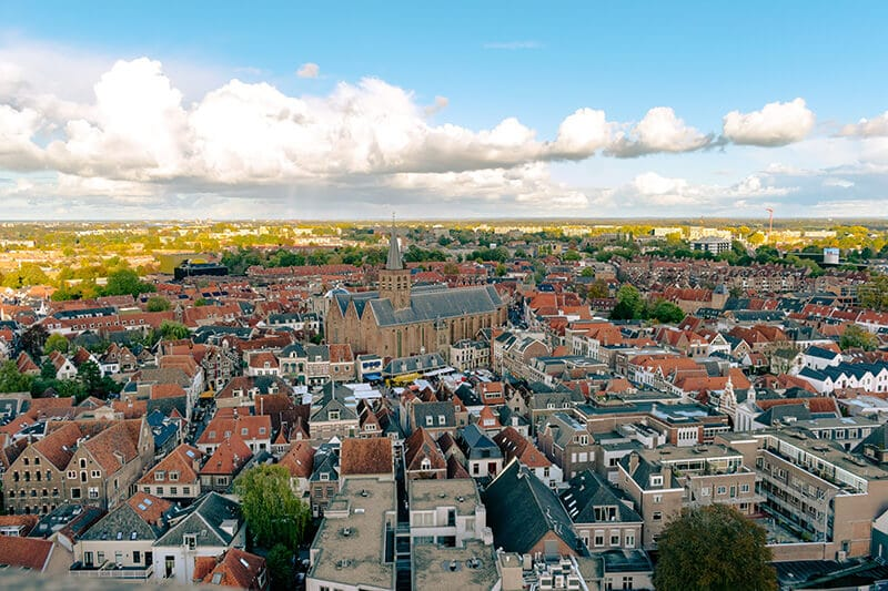 The beautiful view from Onze Lieve Vrouwetoren in Amersfoort, the Netherlands. This tower has one of the best views of Amersfoort! #amersfoort #netherlands #nederland