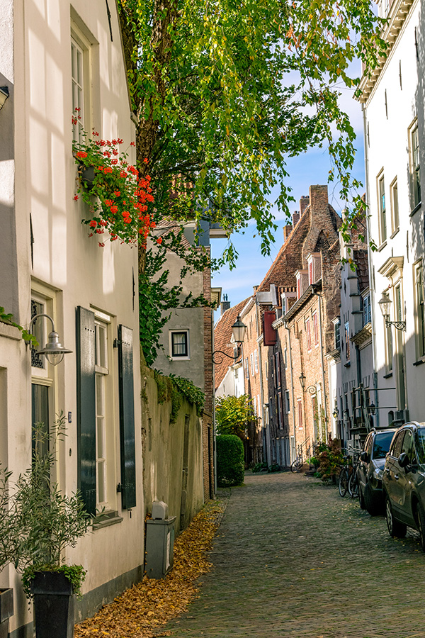 Beautiful street in Amersfoort, the Netherlands.  This charming medieval city is just a day trip away from Amsterdam! #netherlands #amersfoort #utrecht