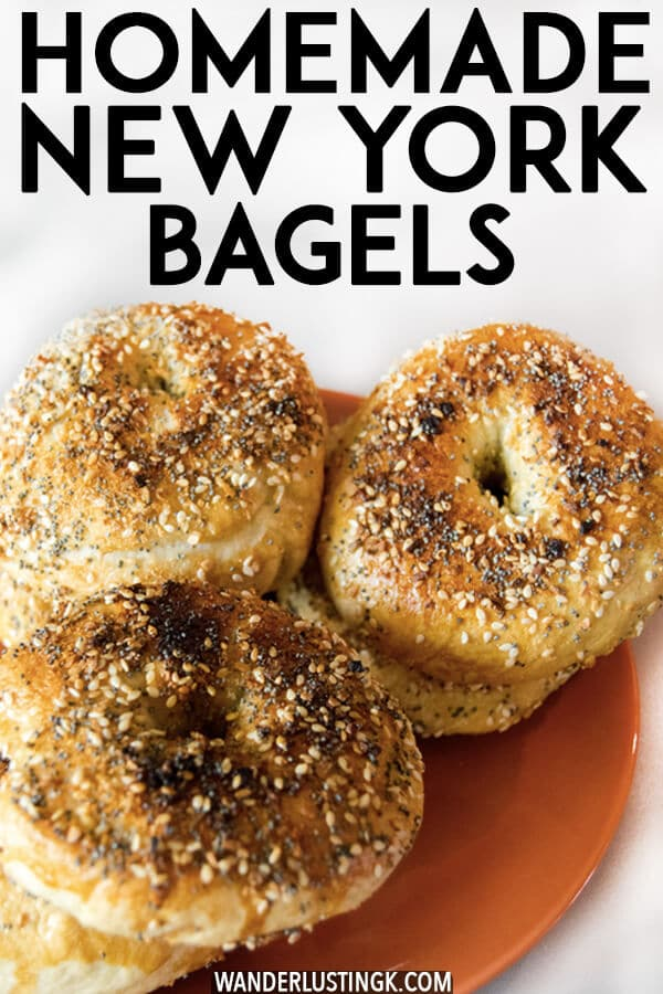 Looking for delicious homemade New York style bagels? This bagel recipe doesn't require any crazy tricks to create a perfect everything bagel at home, written by a New Yorker. #bagels #baking #NYbagel #recipes