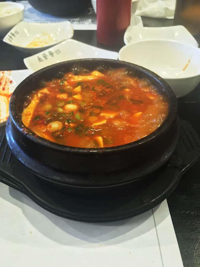 Delicious Korean soup at a 24 hour Korean restaurant near JFK!