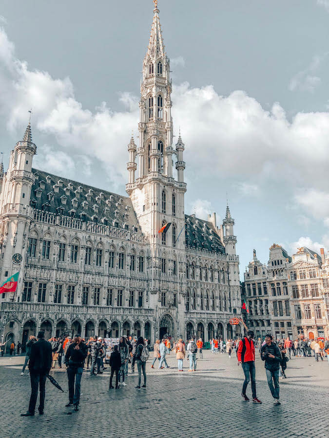 Beautiful Tower Hall in Grand Place in Brussels.  This beautiful square needs to be on your European Bucket List! #travel #europe #brussels #belgium