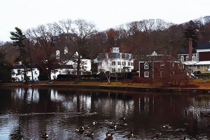 View of Gerry Pond in Roslyn, New York. Old Roslyn is a beautiful gem on Long Island!