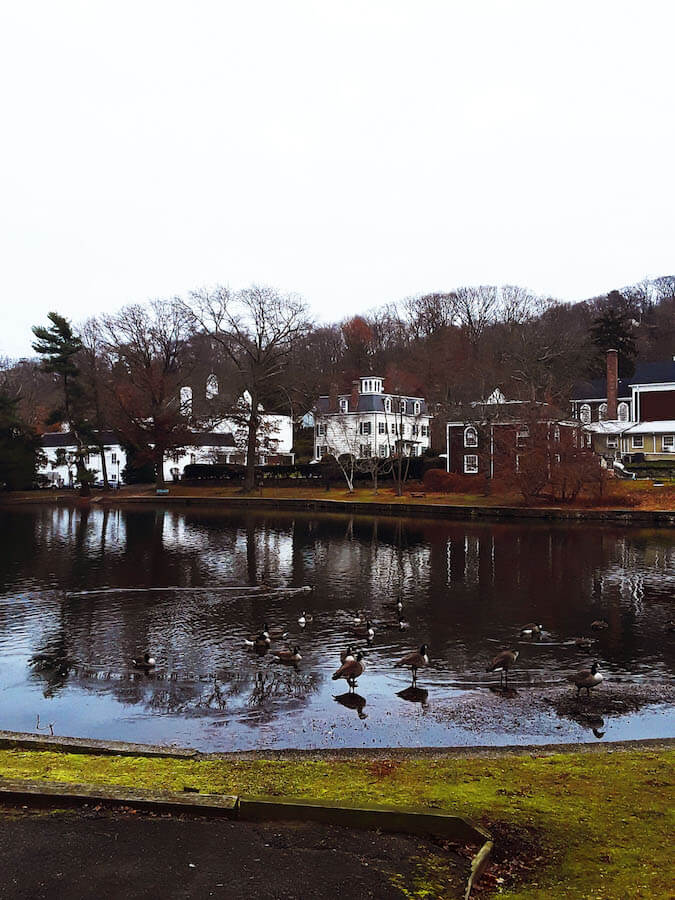 View of the pond in Old Roslyn.  This town on Long Island has a lot to offer for history lovers! #roslyn #longisland #travel #newyork