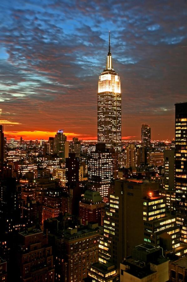 Mis het Empire State Building niet 's nachts op uw New York City-route! #NYC #NewYorkCIty #travel