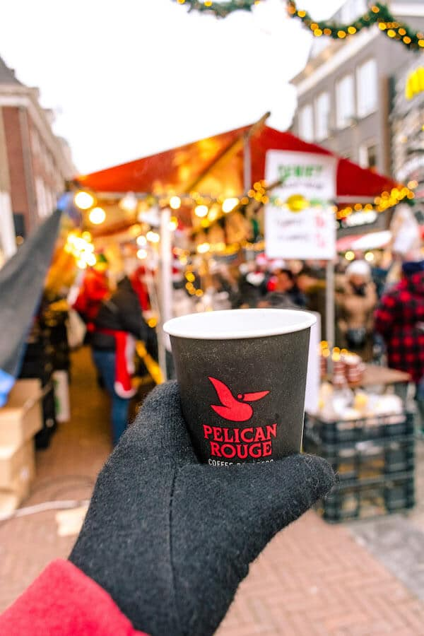Gluhwein at the Dordrecht Christmas Market, the largest Christmas market in the Netherlands #gluhwein #travel #netherlands #kerst #holland