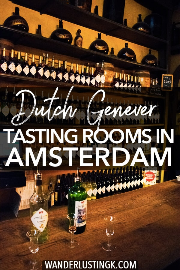 Looking for an unique experience in Amsterdam? Sample Dutch gin (genever) in an authentic tasting room on your own.  Follow these tips for the best proeflokaal in Amsterdam to try jenever! #travel #amsterdam #genever #jenever #holland #netherlands