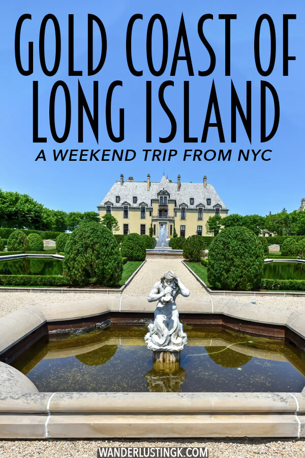 Looking for a weekend trip from New York City? Follow this guide to see the best of the Gold Coast of Long Island.  The real mansions of this area inspired Fitzgerald's Great Gatsby and can be visited on a relaxing weekend from NYC! #travel #NYC #NewYork #LongIsland