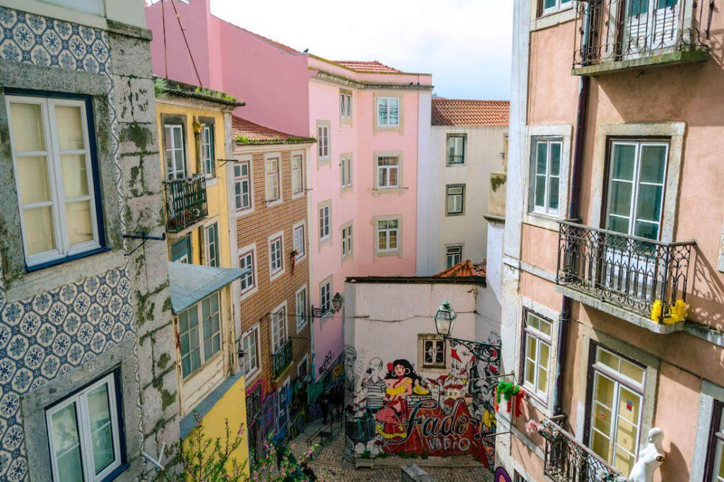 Graffiti in Lisbon on a beautiful street.