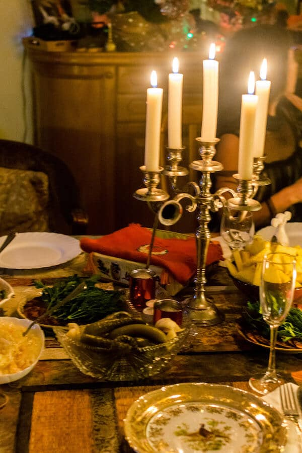 Traditional Russian food during a New Year's Eve Celebration in Russia. #travel #russia