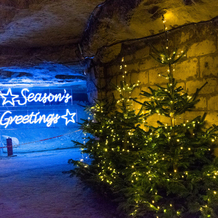 Seasonal view within the Gemeentegrot in Valkenburg, one of the underground Christmas markets in Valkenburg open in late November and December #christmas #valkenburg #travel  #netherlands