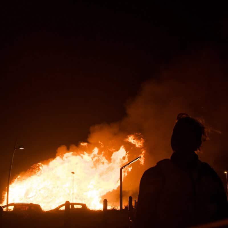 The infamous Scheveningen bonfire 2019 burning in the distance. The Scheveningen vreugdevuren is lit on New Year's Eve and is the highest bonfire in the world. #scheveningen