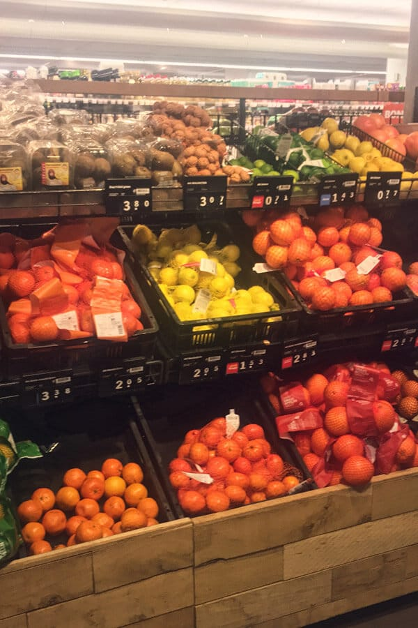 The fruit selection at Albert Heijn, a Dutch supermarket with many locations in Amsterdam. This popular grocery store in the Netherlands has a great fruit selection. #amsterdam #netherlands