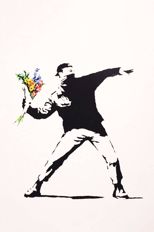 The famous throwing bouquet artwork by Banksy in Amsterdam at the Moco Museum! #amsterdam #art #banksy
