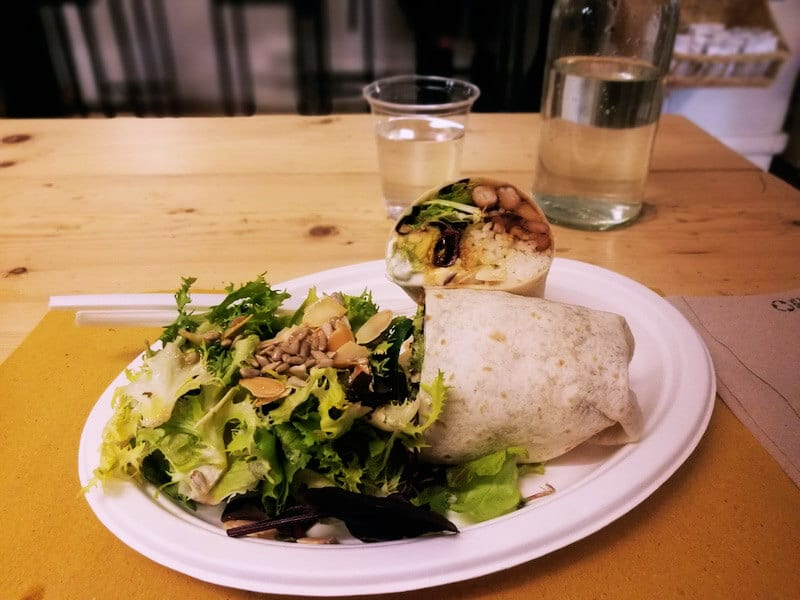 Delicious vegan meal in Monti, an off the beaten path neighborhood in Rome.