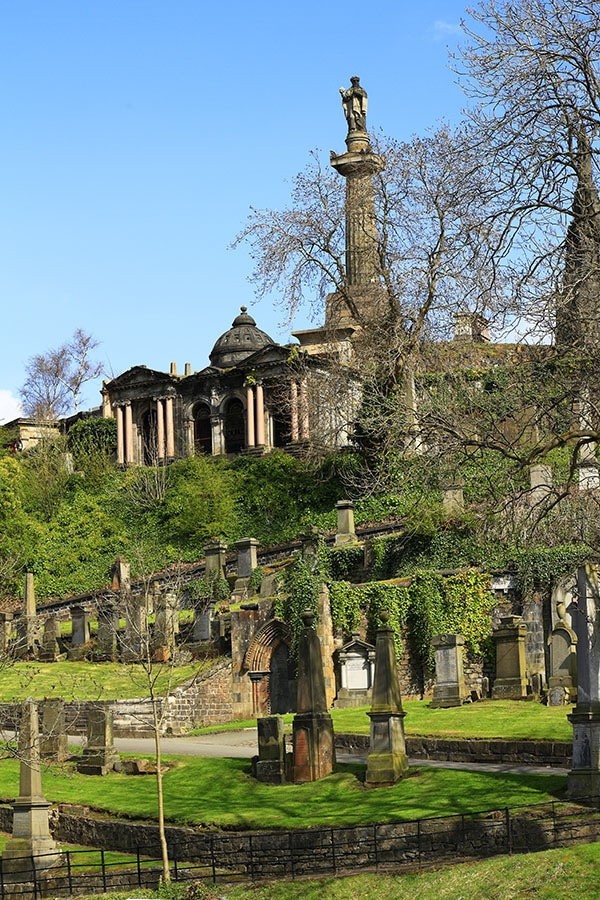The Glasgow Necropolis is one of the places to visit in Glasgow. This cemetery in Glasgow has amazing views of Glasgow! #glasgow #scotland #travel