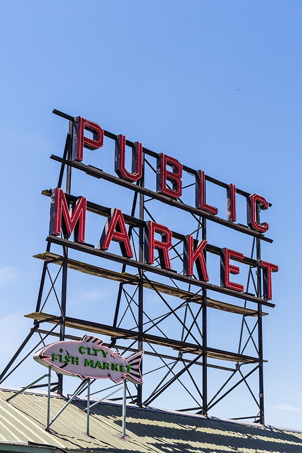 Public Market sign outside of Pike Street Market in Capitol Hill, Seattle. This cool neighborhood is worth exploring! #seattle #travel #washington