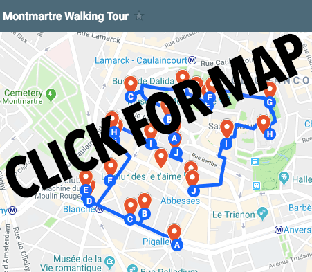 Downloadable map of this self-guided walking tour through Montmartre, Paris