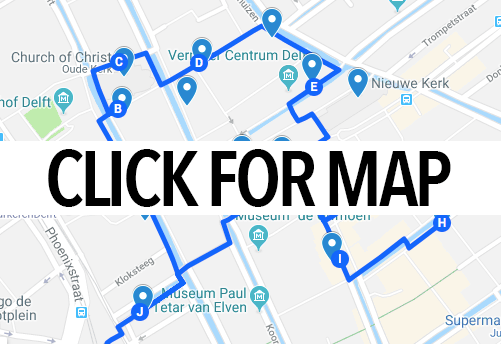 Map of Delft walking route showing the best things to do in Delft!