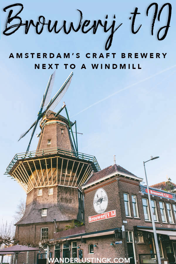 Love craft beer and windmills? Be sure to visit Brouwerij 't IJ in Amsterdam! This craft brewery in Amsterdam sits next to a beautiful windmill, perfect for a relaxing stop off! #amsterdam #holland #netherlands #craftbeer #travel