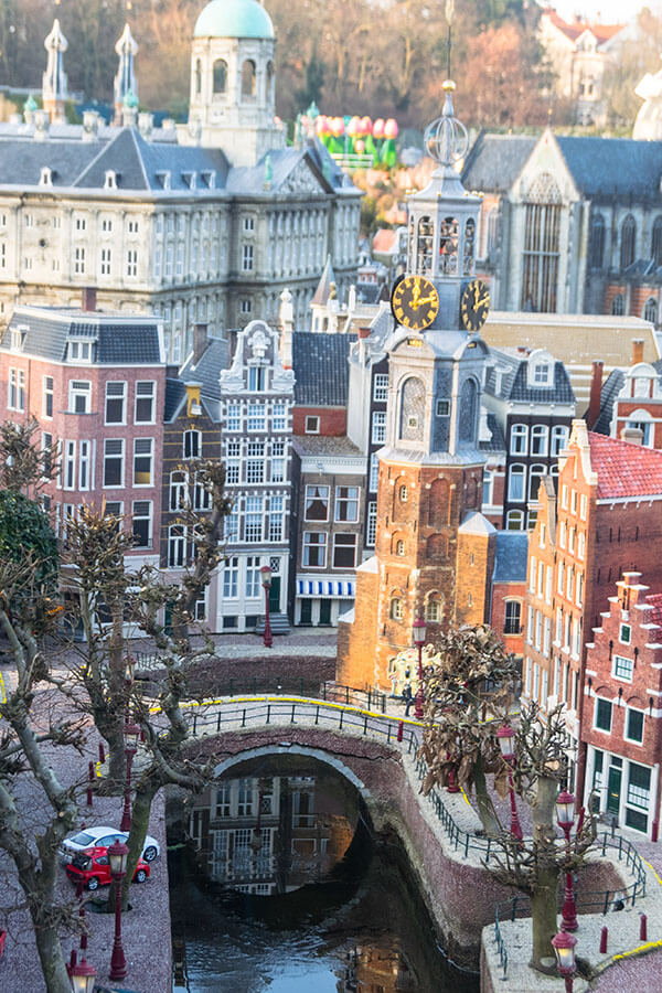 "Beautiful photo of Amsterdam ""from above"" taken at the miniature version of Amsterdam at the Madurodam in the Hague.  This family-friendly attraction is full of cute Dutch miniatures! #travel #holland #netherlands #amsterdam #hague #madurodam"