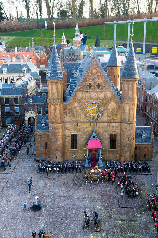 "Miniature of the Binnenhof at the Madurodam taken from ""drone level.""  This famous building for Dutch Parliament in the Hague is at 1:25 dimensions in this miniature theme park! #travel #holland #netherlands"