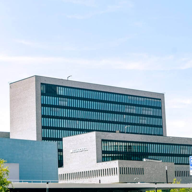 The Europol building in the Hague in a photograph taken from a distance.