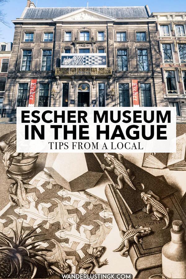 Visiting the Hague? Your local's guide to the Escher Museum in the Hague (Escher in het Paleis). This art museum is dedicated to Escher's artwork and optical illusions! #art #hague #Holland #netherlands #travel #escher #denhaag