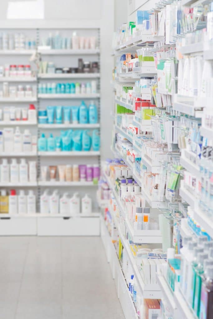 Shelves at a Dutch drugstore.  Read tips for visiting a drugstore in the Netherlands, including helpful tips for what you might have forgotten at home! #amsterdam #holland #travel