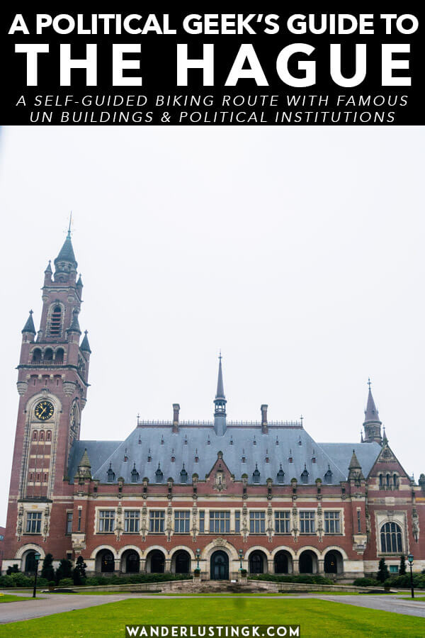Love politics and United Nations related items? Follow this self-guided biking tour of the Hague to see the most important international institutions in the Hague (including the Peace Palace and ICC) and political buildings in the Hague.  This free self-guided tour is perfect for history and politics geeks visiting the Hague! #travel #hague #denhaag #holland #unitednations