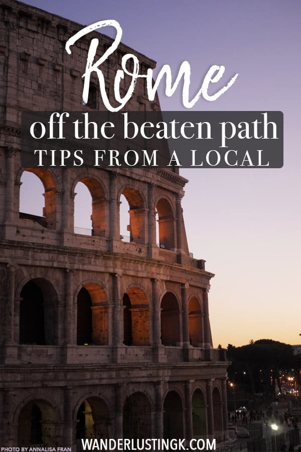Looking to explore Rome off the beaten path? Avoid the crowds in Rome to follow this free self-guided walking tour to Rome written by a local to see some cool neighborhoods in rome, lots of history, beautiful churches, and a stunning view of the Colosseum at sunset. Includes food and gelato recommendations! #rome #roma #italy #italia #travel