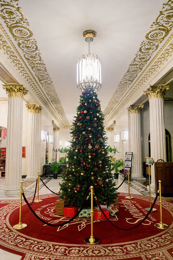 Christmas tree in the lobby of a Wes Anderson-esque hotel in Moscow, Russia. #travel #moscow #russia
