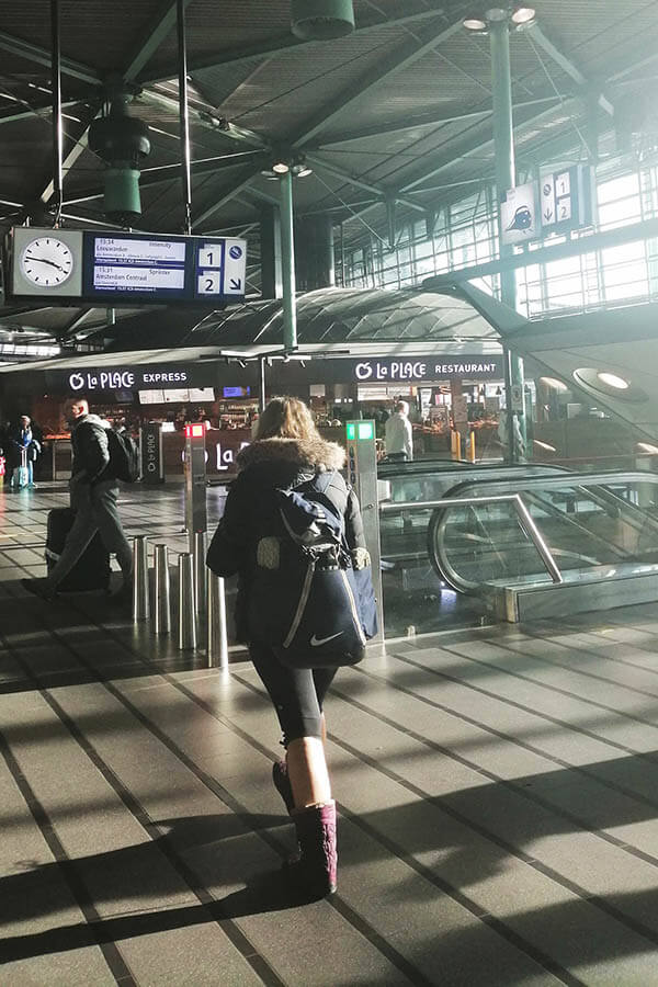 Photo showing the track with the train to Amsterdam at Schiphol Airport.