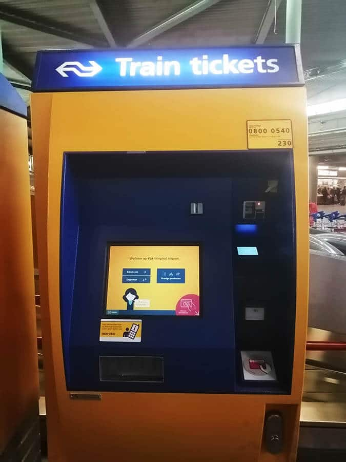 A ticket machine at Schiphol Airport. In order to travel to Amsterdam, you will need to buy a ticket to Amsterdam Centraal from the machine or a clerk. #amsterdam