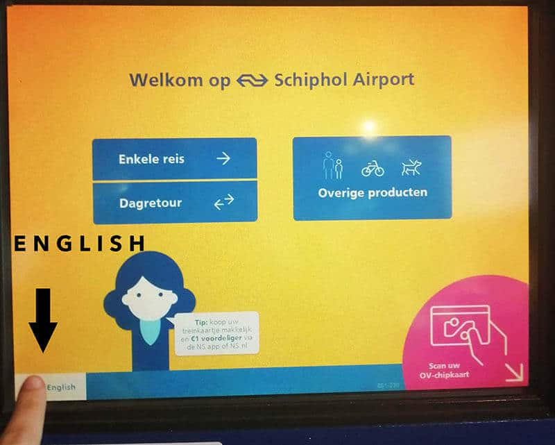 How to get the Dutch ticket machine into English